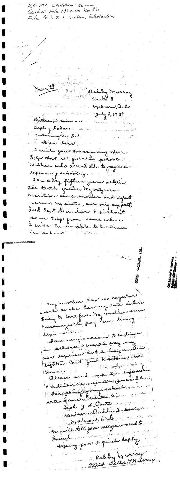 original bobby murray letter